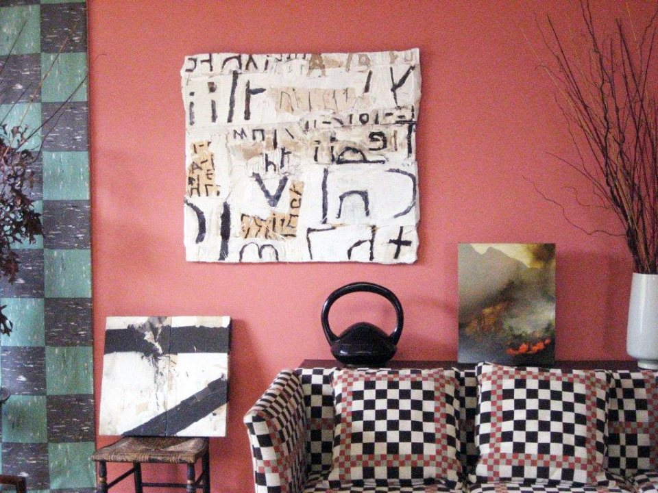 Nerve Block 32 (on chair) and Language 170 (on wall) in Abeel/Bryer house (Portland)