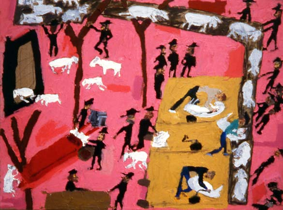 Sheep shearers, painting by Jerry Iverson